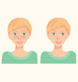 cheerful cute young girl with freckles and same vector image vector image