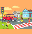 children playing and crossing road vector image vector image