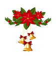 christmas decorations with gold bells holly and vector image vector image