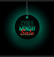 cyber monday sale hanging tag design background vector image
