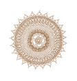 decorative brown line mandala in zentangle style vector image