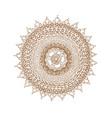 decorative brown line mandala in zentangle style vector image vector image