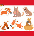 dogs or puppies cartoon animals set vector image vector image