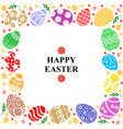 easter card with decorative frame color eggs vector image