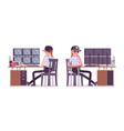 female security guard monitoring alarm systems vector image