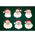 Funny Hand Drawn Santa Clauses Set on Dark Green vector image