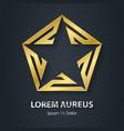 Gold star logo Award golden 3d icon Metallic vector image