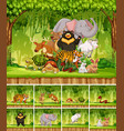 group of wild animal in jungle vector image vector image