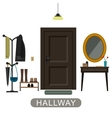 Hallway interior with door vector image vector image