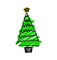 hand drawing christmas tree vector image
