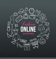 hand drawn set online fashion shopping icons vector image vector image