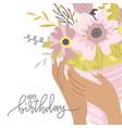 happy birthday greeting card elegant female hands vector image vector image