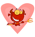 Happy Little Devil With Pitchfork vector image vector image