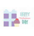 happy valentines day gift box and sweet cupcake vector image vector image
