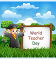 happy world teachers day with graduation kids vector image vector image