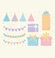 hats gift boxes and pennants celebration event vector image