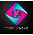 Letter K logo symbol in the colorful rhombus vector image vector image