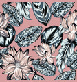 lotus flowers leaves seamless pattern pink vector image vector image