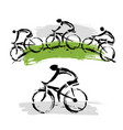 mountain bikers on a hill vector image vector image