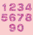 number floral pink cute decorative elements vector image vector image