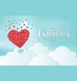 paper cut art heart balloon flying under clouds vector image