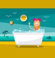 prett woman in bathtub on sand beach with ocean vector image