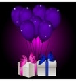 realisic gift box with balloons vector image vector image
