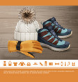 realistic winter clothes concept vector image vector image