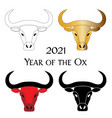 red gold black year ox chinese new year vector image vector image
