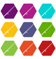 rod and reel icon set color hexahedron vector image vector image