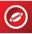 Rugby ball icon on red vector image