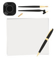 set flat stationery calligraphy top view pen vector image vector image
