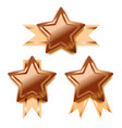 set of bright bronze awards in star shape vector image