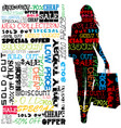 shopping concept with silhouette woman holding vector image vector image