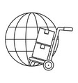 sphere planet with delivery cart vector image
