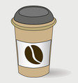 take-out coffee in a carton with a lid closed vector image