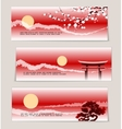 three japanese landscape banners vector image