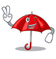 two finger red umbrellas isolated in a mascot vector image