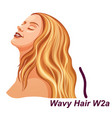 woman with healthy blonde wavy hairstyle vector image