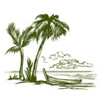 summer beach landscape hand drawn vector image