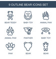 9 bear icons vector image vector image