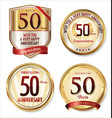 anniversary golden labels collection 50 years vector image vector image