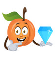 apricot holding big diamond on white background vector image vector image