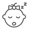 baby girl sleep line icon child and face vector image vector image