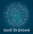 back to school circle to doodles whiteboard vector image vector image