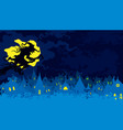 banner with a witch flying above night fantasy vector image vector image