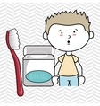 boy with dental floss isolated icon design vector image vector image