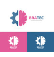 brain and gear logo combination education vector image vector image
