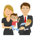 businessman and woman holding their children vector image