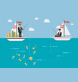 businessman with idea fishing more money than his vector image vector image